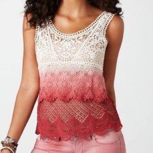 American Eagle Large Crochet Lace Ombré Top